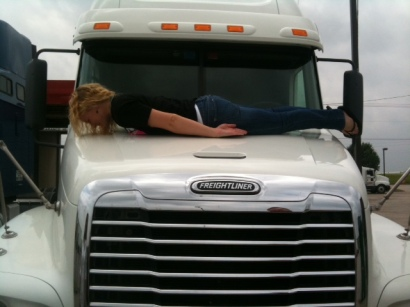My sister planking on a semi truck, back when it was cool.