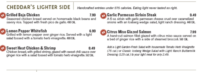 The Light Menu at Cheddar's Source
