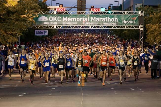 OKC Memorial Marathon 2016 start line